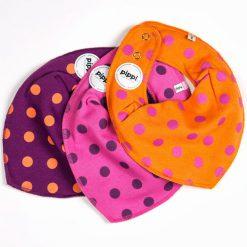 Pippi bib set paars, roze en oranje
