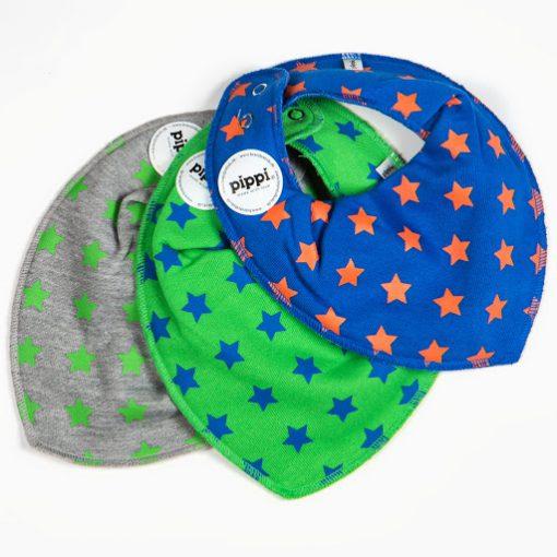 Pippi bib set grijs, groen en blauw