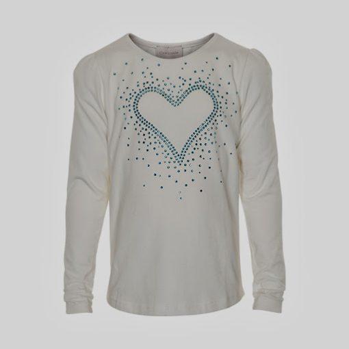 Creamie - meisjes shirt - lange mouwen - model Crissy Hart shirt - wit