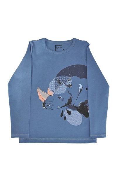 Hebe shirt met neushoorn blauw