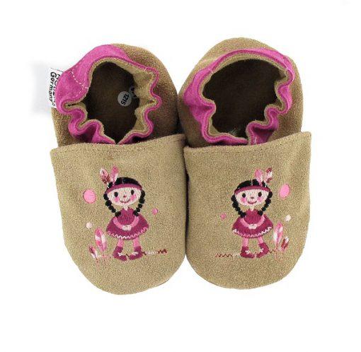 Hobea - babyslofjes - indiaan - taupe