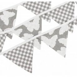 Hobea - Vlaggenlijn - katoen - vlinders/stippen - grijs