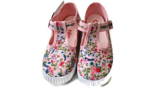 Cienta canvas kinderschoen bloem roze