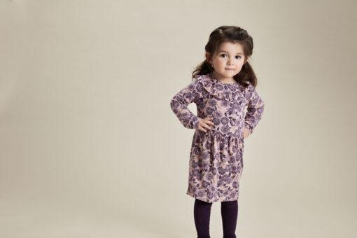 Minymo - jurk - gebloemd grape - paars - Eileen4Kids