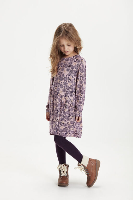 Minymo - jurk - gebloemd - grape paars - Eileen4Kids