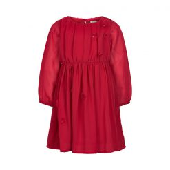 Creamie - jurk - chiffon - bloemen - rood - Eileen4Kids