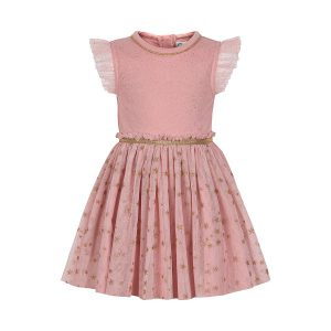 Minymo - jurk met tule - roze - 121193 - Eileen4Kids