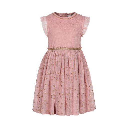 Minymo - jurk met tule - roze - 141192 - Eileen4Kids