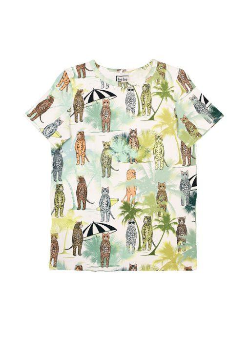 HEBE - t-shirt - dierenprint tropical beach - Eileen4Kids
