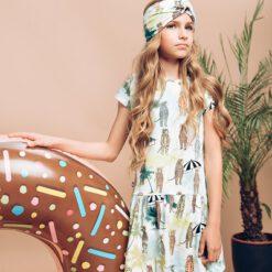 Hebe - jurk - korte mouwen - dierenprint - Eileen4Kids