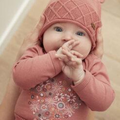 Minymo - gebreide baby muts - roze - Eileen4Kids