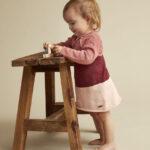 Minymo - gebreide oud roze baby jurk - Eileen4Kids