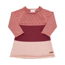 Minymo - gebreide baby jurk - roze - Eileen4Kids