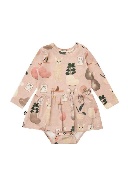 HEBE - jurk met romper - sweet home - roze - Eileen4Kids