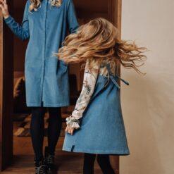 HEBE - jurk - spagettibandjes - corduroy - licht blauw - Eileen4Kids