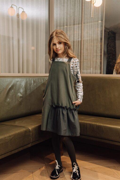HEBE - jurk - spagettibandjes - khaki - Eileen4Kids