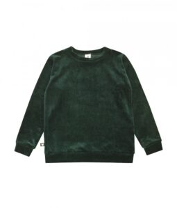 HEBE - meisjes sweater cotton velvet - emerald green - Eileen4Kids