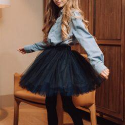 HEBE - reversable tule rok - blauw en navy - Eileen4Kids