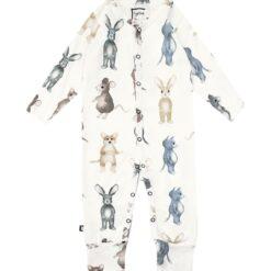 HEBE - romper - lange mouwen - dierenprint - wit - Eileen4Kids