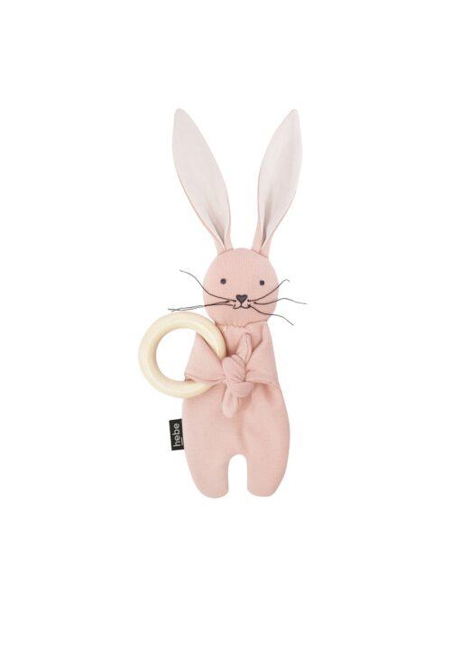HEBE - effen roze konijn met bijtring - Eileen4Kids