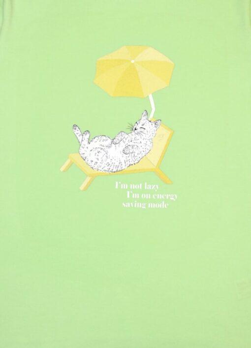 HEBE - t-shirt - kat - licht groen - Eileen4Kids