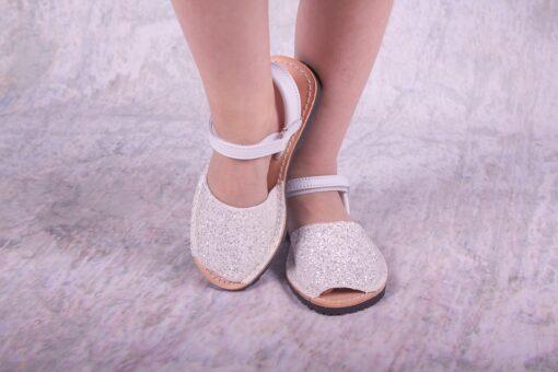 Cienta - kinderschoen - sandaal - glitter wit - Eileen4Kids