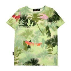 HEBE - t-shirt - palmenprint - groen - Eileen4Kids