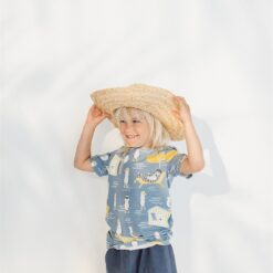 HEBE - t-shirt - zomerse dierenprint - blauw - Eileen4Kids