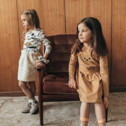 HEBE - jurk - lange mouwen - mustard - Eileen4Kids