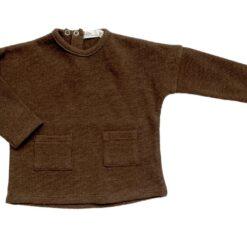 Riffle Amsterdam baby shirt effen bruin - Eileen4Kids